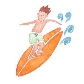 サーフィン 人物 男性 水彩 イラスト