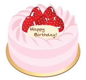 ピンクの苺のお誕生日ケーキのイラスト