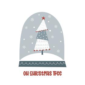手描きのクリスマスツリーのスノードーム