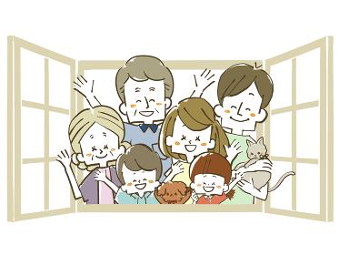 窓から手を振る三世代家族