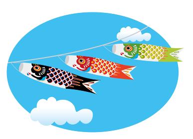 子供の日こどもの日端午の節句用イラストバナー|楕円形の青空と白い雲鯉のぼりのイラスト