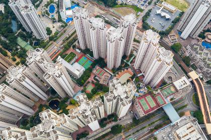 Aerial view of Hong Kong tall building