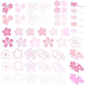 イラスト素材 桜 さくら サクラ 花びら シルエット マーク パターン ベクター