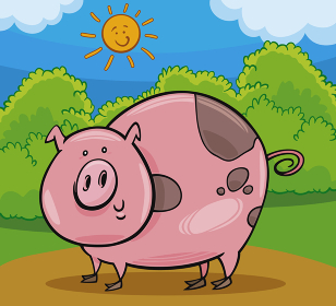 pig livestock animal cartoon illustration