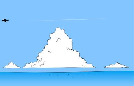 夏の青空と入道雲と海のイラスト 飛行機と飛行機雲