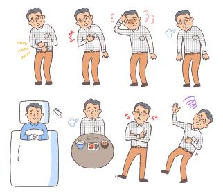 体調不良のシニア男性 表情セット