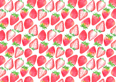 水彩で描いたイチゴの模様