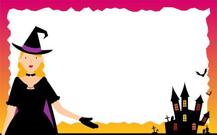 ハロウィンの魔女とお城のメッセージカード
