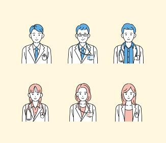医者 アイコン 女医 研究員 科学者 白衣を着た男女 医療スタッフ 上半身 イラスト素材