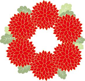 菊:菊 花 菊花紋 紋 フレーム 枠 飾り枠 囲み枠 満開 年賀 植物