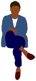 座っている人物・ 全身シルエットイラスト (男性・黒人)