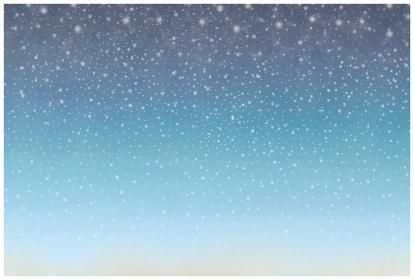 ロマンチックなハガキデザイン 星降る夜空 舞い落ちる雪