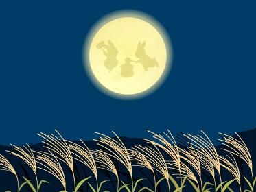 月見 餅つきをするウサギと満月とススキの風景イラスト