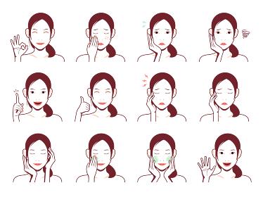 若い日本人女性 上半身イラストセット / 化粧落とし・肌トラブル・嬉しい・困る etc.
