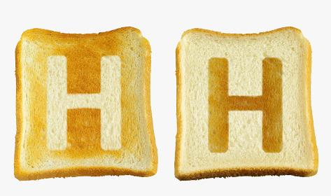 食パンに焼印風のアルファベットの大文字のH