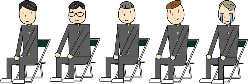 座る男子生徒5人