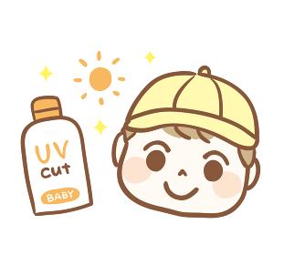 日焼け止めと赤ちゃんのイラスト