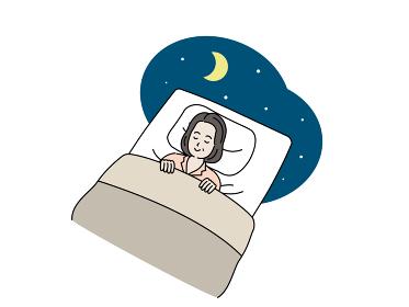 布団で眠る中高年の女性 就寝 睡眠 ミドル イラスト素材
