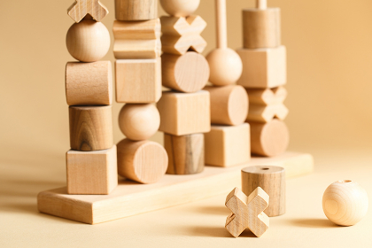 Children's wooden toys. Sequencing education Blocks, motor skill
