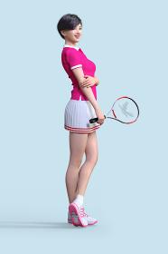 ピンクのユニフォームを着たショートヘアの女の子がテニスのラケットを持って立つ