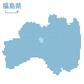 福島県の詳細地図東北地方|都道府県別ドット表現の地図のイラスト ベクターデータ