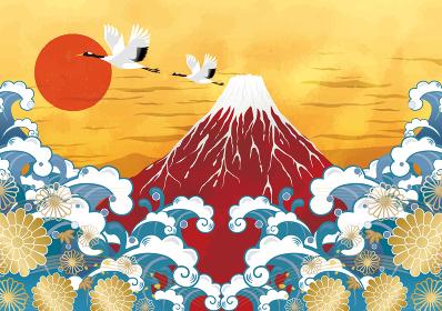 初日の出と赤富士と海:年賀状 赤富士 富士山 ご来光 海 初日の出 太陽 鶴 タイトル変更