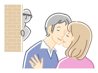 男女二人のイラスト(キスと目撃者・不倫)カラー