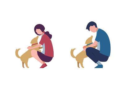 犬と遊ぶ男女のセット 人物フラットイラスト