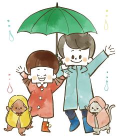 雨の日の子どもたちと犬と猫 水彩