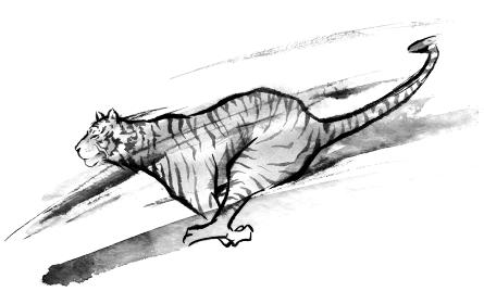 走る虎の水墨画