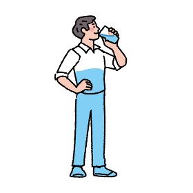 水を飲む男性のイラスト