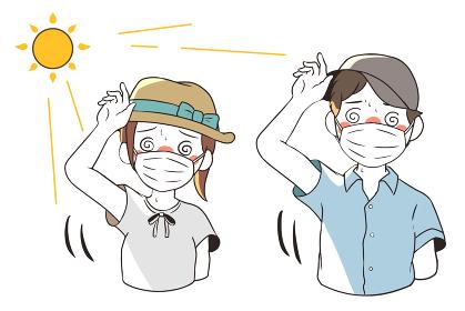 熱中症で目が回る(マスクあり)