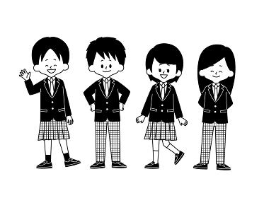 学生服の自由選択 白黒
