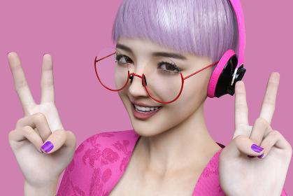 赤い丸いフレームの眼鏡をかけピンクのヘッドホンをしたカジュアルでサブカル風の女の子がピースサインをす