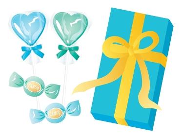 青いホワイトデーのハートのキャンディーとリボンつきの箱のセット
