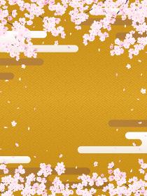 紗綾型文様の背景と桜・雲(縦長)