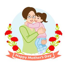 娘を抱きしめる眼鏡の母親- 母の日コンセプトイラスト