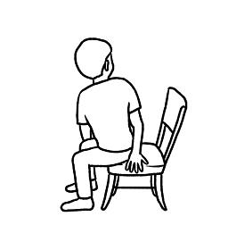 リハビリ体操 身体を捻るイラスト 線画