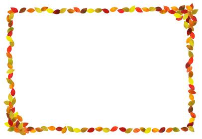 秋 紅葉フレーム (水彩色鉛筆)