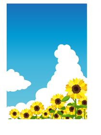 イラスト素材 ひまわり ヒマワリ 向日葵 空 畑 満開 縦構図 ベクター