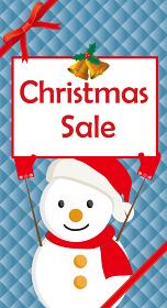 クリスマスセールバナー販売促進用テンプレート可愛いスノーマン雪だるまとリボンとグリッドの背景