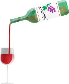 ワイングラスに赤ワインを注ぐ 透明感のある水彩風イラスト