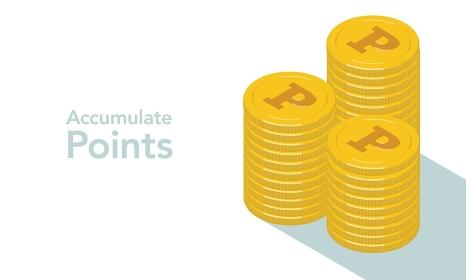ポイントマークが刻印されたコインが積み上がるベクターイラスト
