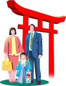 日本の伝統行事七五三と神社の鳥居