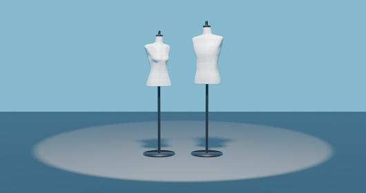 トルソー2体 男性 女性 アパレルファッションディスプレイ 3dcg 青背景