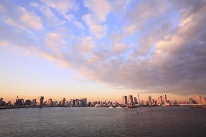 東京港と都心夕暮れパノラマ