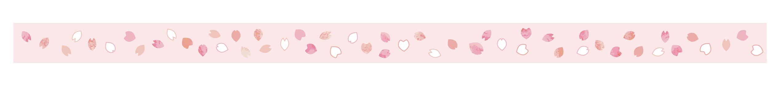 桜の花びら ライン、装飾、罫線素材(ピンク背景) vol.4