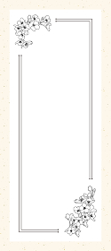 桜 線画 大正ロマン、レトロ 活版印刷風の一筆箋(縦長 82×185mm比率、罫線なし)