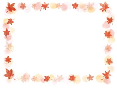 手描きの紅葉の秋っぽいフレーム