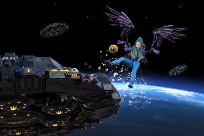 機械の翼をつけた青いボディースーツを着た女性が宇宙で敵と戦う